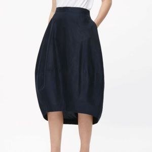 COS Silk Asymmetrical Balloon Midi Lined Skirt